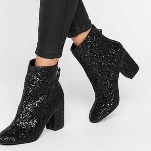 ASOS Black Glitter Heeled Ankle Booties